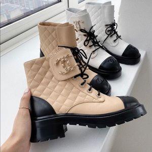 Chanel 20A Beige Short Combat Boots